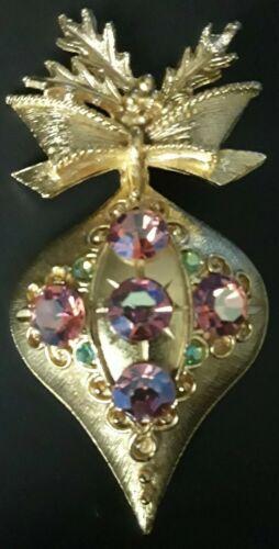"Vintage ""Dodds"" Christmas Rhinestone Ornament Broo"