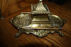 Vintage-single-Brass-Inkwell-Desk-Set-pen-and-pencil-set-both-working