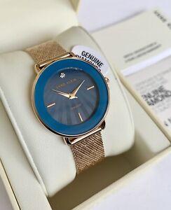Anne Klein Watch * 3686NVRG Diamond Dial Blue MOP Rose Gold Mesh Bracelet Women