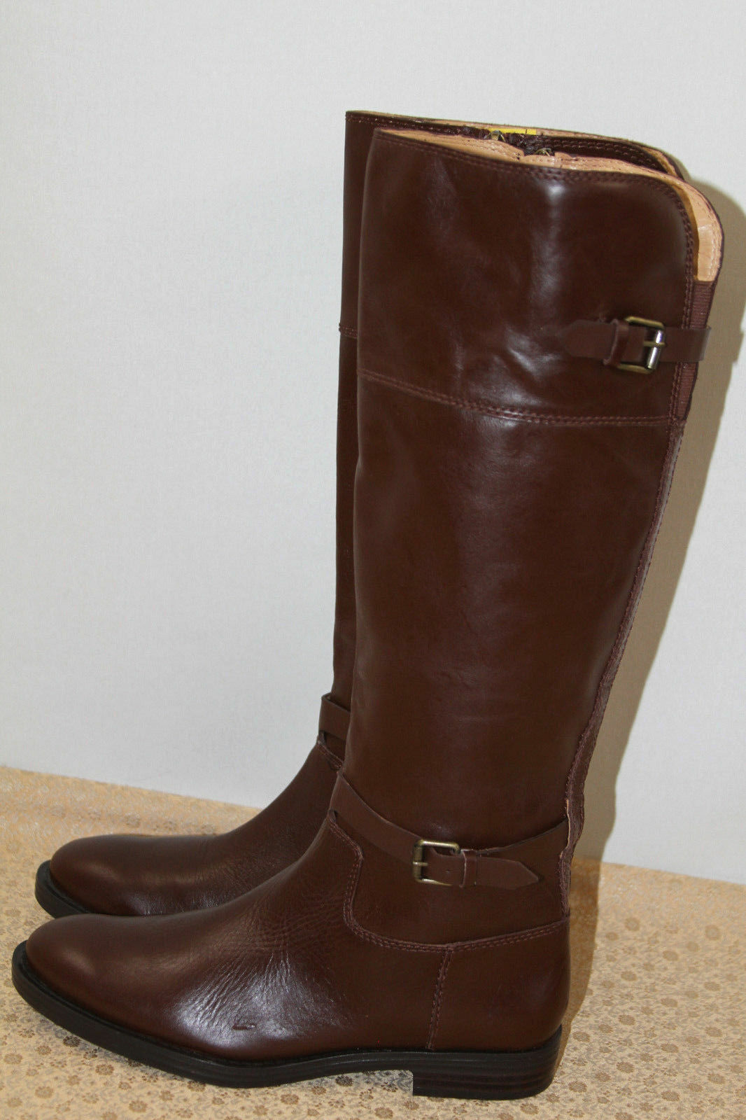 NEW     ENZO ANGIOLINI EERO BROWN LEATHER TALL BOOTS     SZ 7