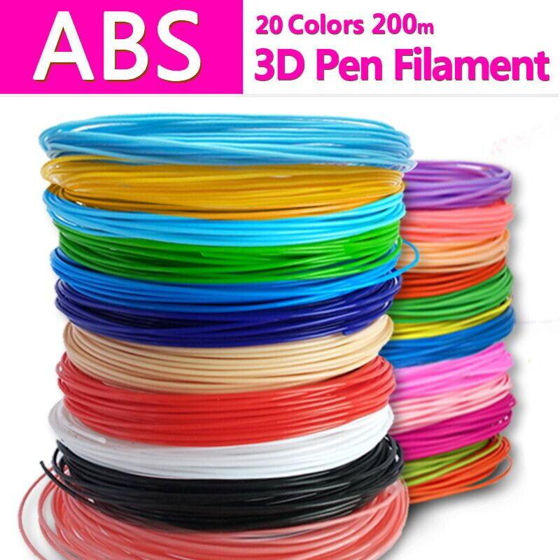 ABS filament 1.75 mm 10 M x 20 solid colors (20 PCS) for 3D printer pen Kid