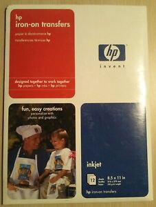 HP Iron-On Transfers 8-1//2 x 11 White 12//Pack C6049A