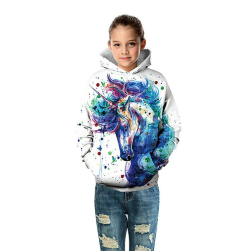 Kids 3D Unicorn Hoodie Pullover Boys Girls Casual Jumper Coat Outwear 4-13 Years