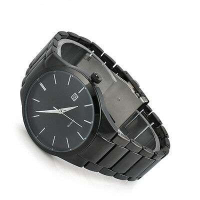 Black Men's Date Stainless Steel Band Sport Military Army Analog Quartz Watch