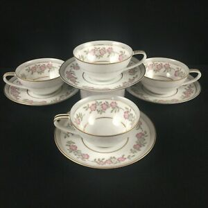 Set-of-4-VTG-Cups-and-Saucers-by-Noritake-5433-Dark-Pink-and-Gray-Floral-Japan