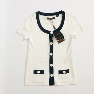 NEW-Ben-Sherman-Women-039-s-Short-Sleeve-White-Button-Up-Knit-Top-Cardigan-RRP-89