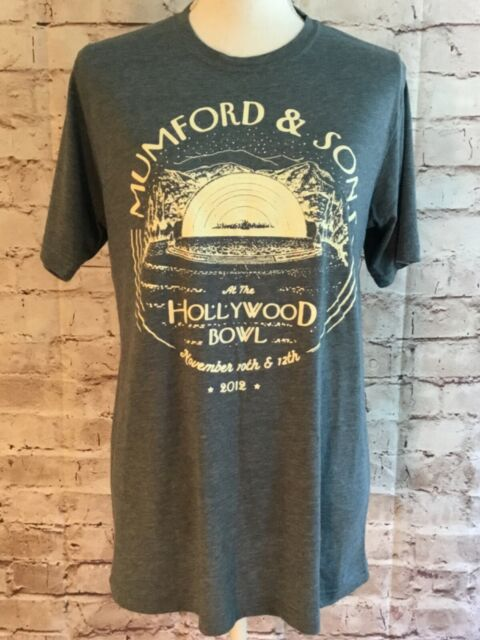 Mumford & Sons at the Hollywood Bowl 2012 Gray T-shirt Band Souvenir Size Medium