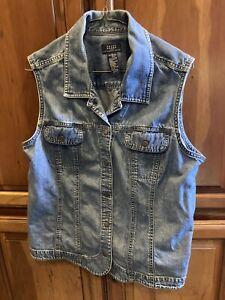 Crazy Horse Liz Claiborne Women's VTG Denim Blue Jean Sleeveless Vest Sz XL