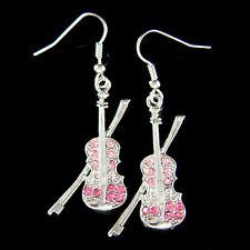 w Swarovski Crystal ~Pink Violin Fiddle Viola Cello Music Musical Charm Earrings