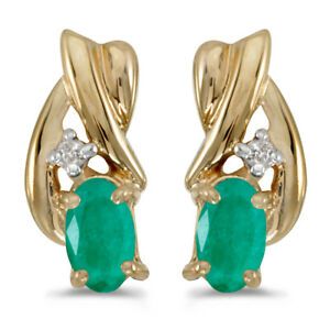 14k-Yellow-Gold-Oval-Emerald-And-Diamond-Earrings