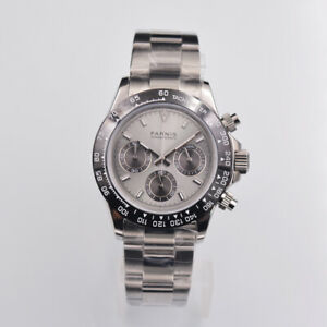 40mm-PARNIS-uhr-Voller-Chronograph-Saphirglas-Grau-dial-leuchtend-men-039-s-watch