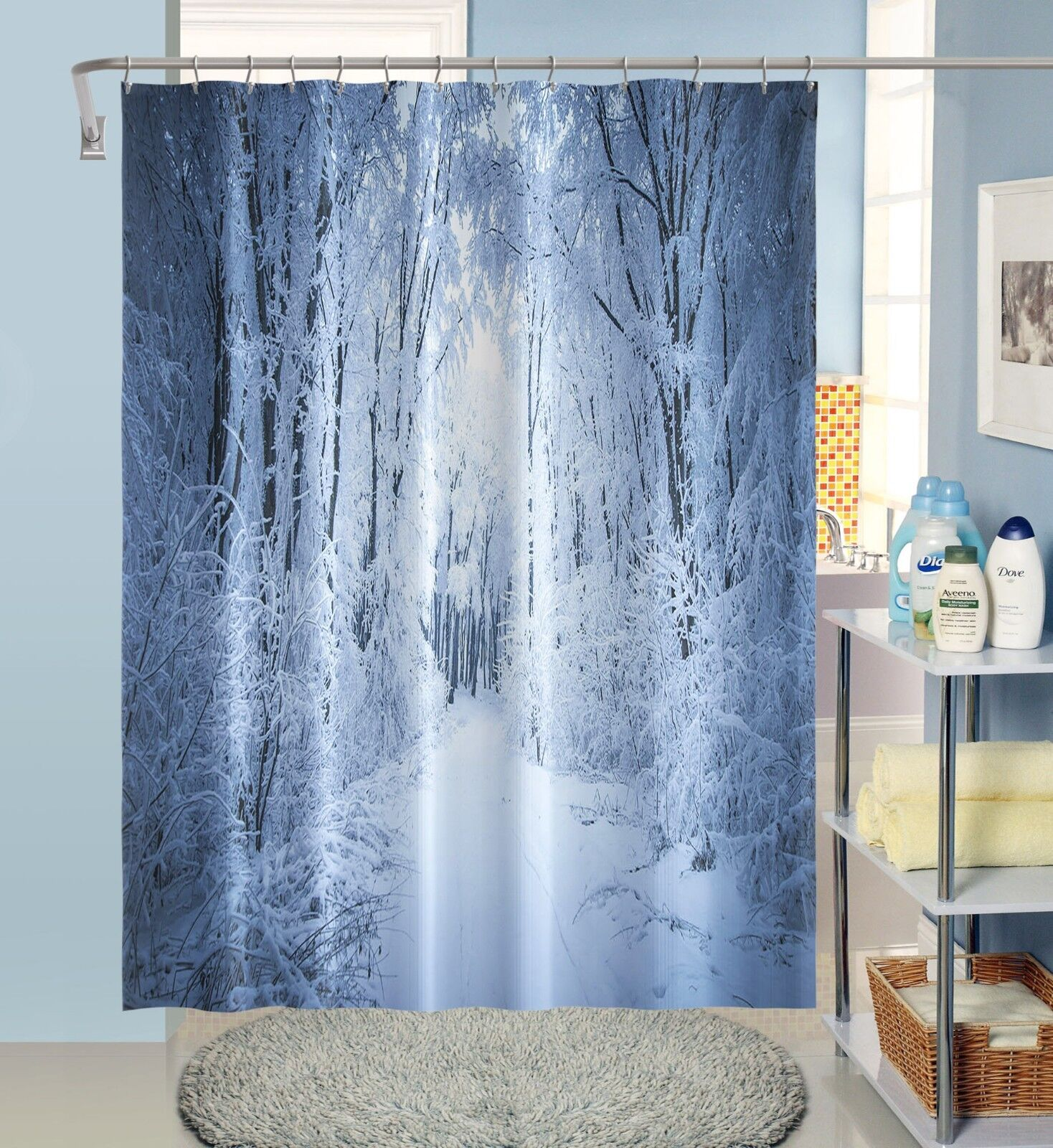 3D Weiß Wald 12 12 12 Duschvorhang Wasserdicht Faser Bad Daheim Windows Toilette DE   Authentische Garantie  f79a8f