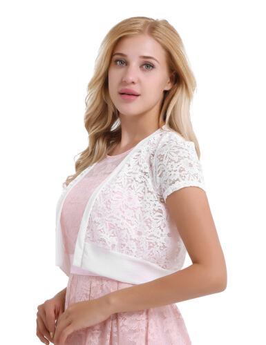 Women Lace Shrug Bolero Jacket Short Sleeve Cardigan Blouse Top Evening Dress