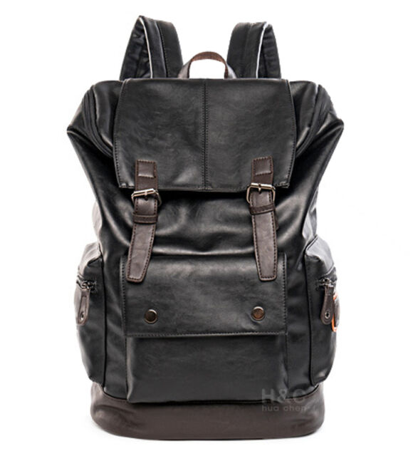 Men's PU Leather Travel Satchel Laptop Backpack Rucksack Hiking School Bag New