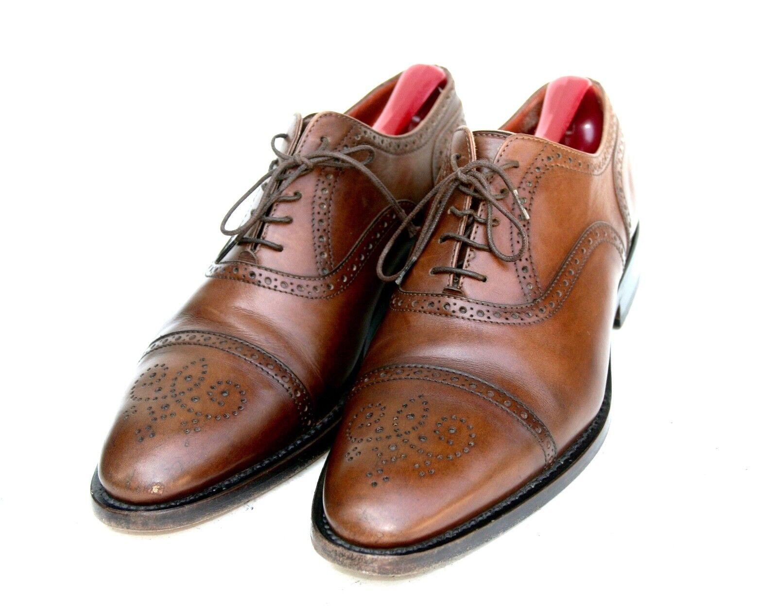 Giano Misura Italia Blake Rapid Marrón Toe Cuero Cap Toe Marrón Oxford Vestido Zapato 8  US 8.5 606967