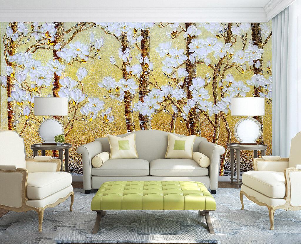 3D Der baum MIT weißen blüten Fototapeten Wandbild Fototapete BildTapete Familie