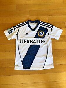 on sale af879 f4b95 Details about Adidas Kids WHITE LA Galaxy Herbalife Soccer Futbol Jersey Sz  Sm 9/10y