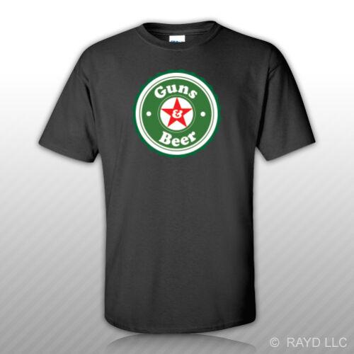 Guns /& Beer T-Shirt Tee Shirt Free Sticker and 2a gun rights