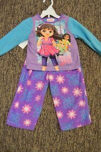 Girls Baby Toddler 2 pc Pajamas Sleepwear Set Dora The Explorer Nickelodeon