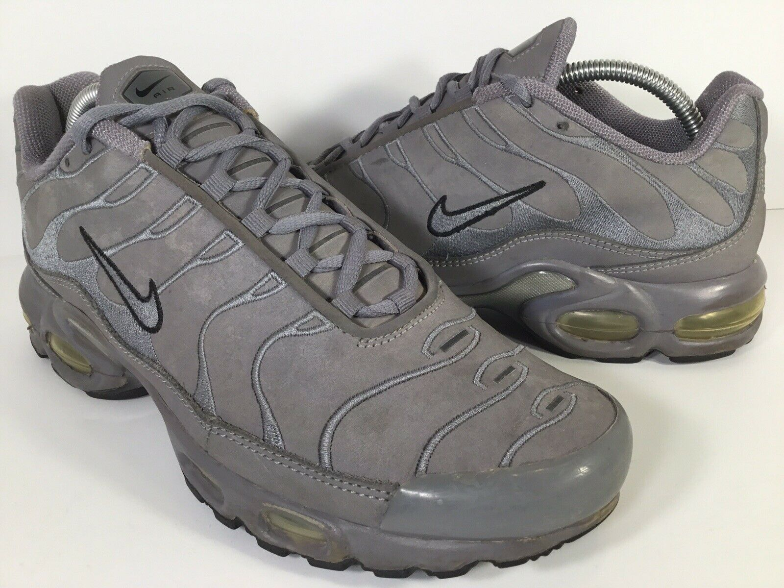 Nike Air Max Plus Tn Leather Cool Grey Black Mens Size 9.5 Rare 310721-003