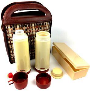 VINTAGE-1970s-Thermos-Picnic-Lunch-Tote-Brown-Plaid-Tweed-Bag-Set-Canvas-Set-EUC