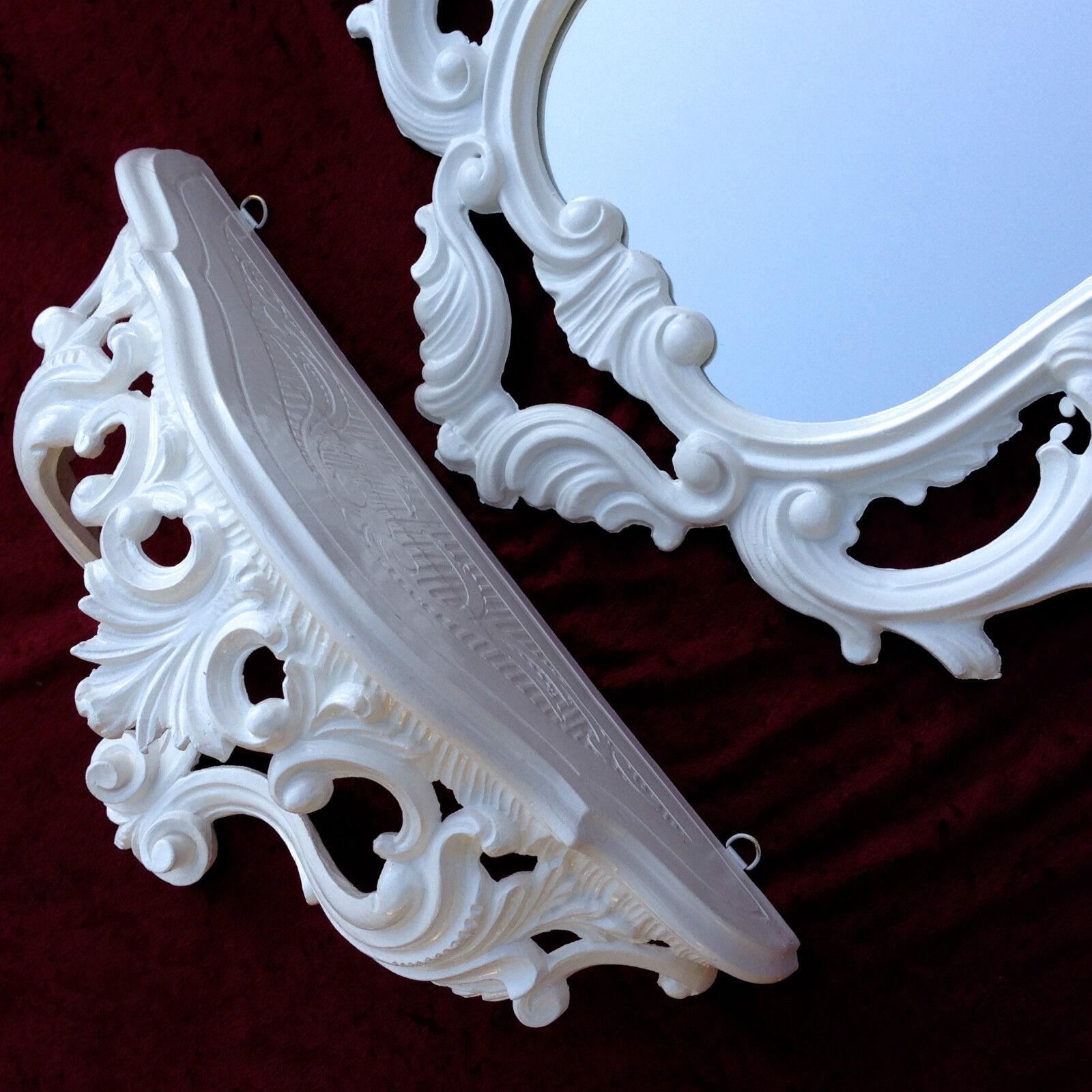 Wandspiegel Weiß mit Konsole Antik Spiegelablage 50 x76 Wandkonsole Retro