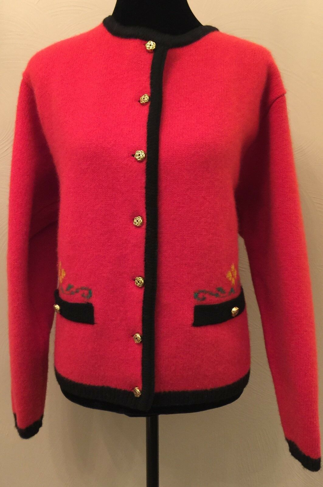 Kilkenny Ireland Womens Cardigan Sz Large Red Button Down Long Sleeve Pure Wool