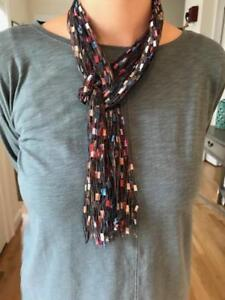 Details about Scarf Yarn Necklace Lariat Handmade ladder ribbon trellis  Dusty Rose Blue