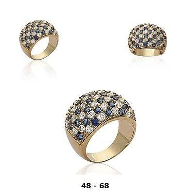 Grosse Bague Damier T60 de Saphir et Diamant Cz Plaqué Or 18K Dolly-Bijoux