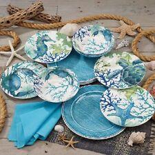 Sea Life 12-piece Melamine Dinnerware Set, Green & Blue