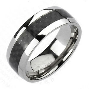 New-Titanium-Mens-Black-Carbon-Fiber-Stripe-Comfort-Fit-Wedding-Band-Ring