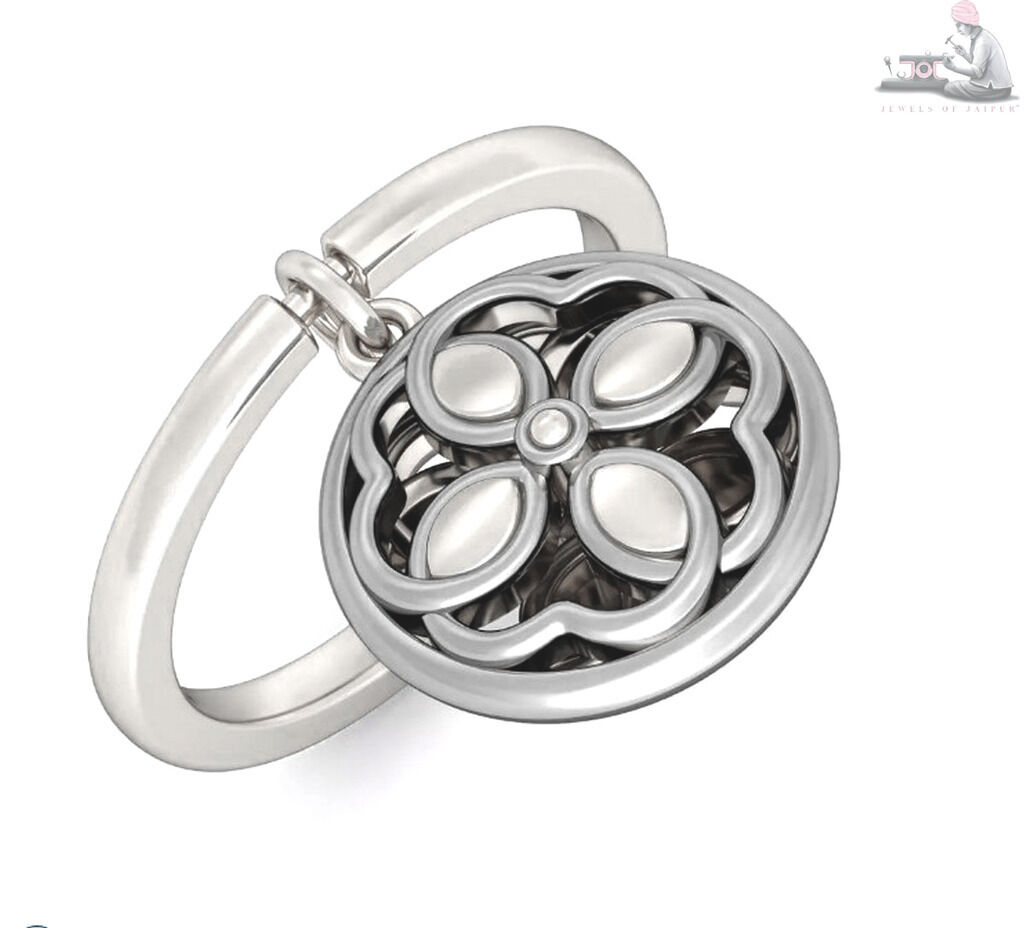 14kt White real gold Adjustable Casual Wear Floral Charm Ring Jewelry