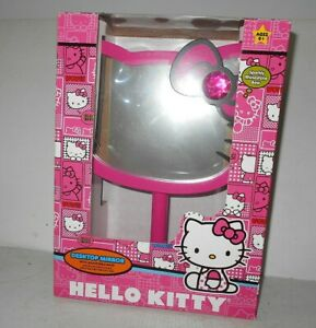 Sanrio-Hello-Kitty-Pink-Face-Desktop-Table-Mirror-Wood-Frame-with-Stone-11-034