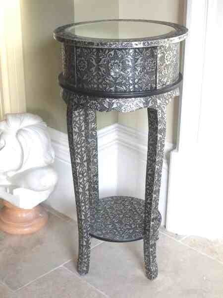 Blackened Silver Metal Embossed 1 Drawer Bedside / Lamp Side Table DEFECTED