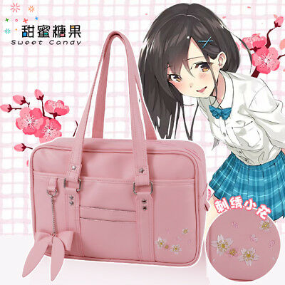 Japanese Styles Sakura Embroidery Bag Shoulder Bag JK Uniform Handbag 3Colors