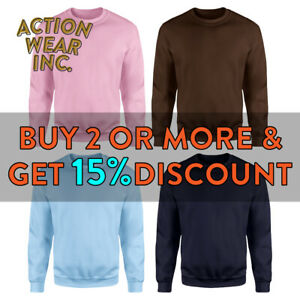 HI-MENS-WOMENS-UNISEX-PLAIN-CREW-NECK-SWEATSHIRT-CASUAL-PULLOVER-ACTIVE-SWEATER