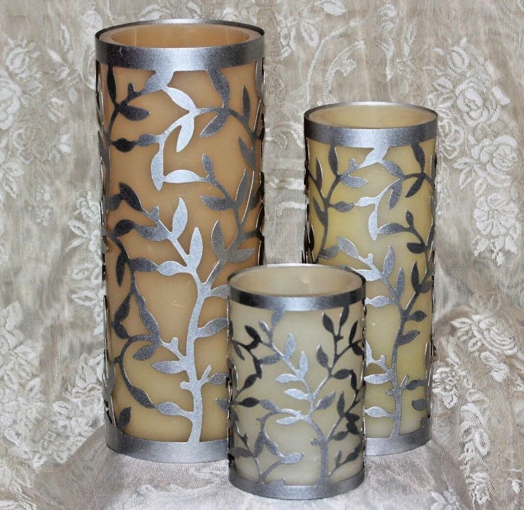 Set of of of 3 METAL LUMINARIES Wax Candle Light HOLDERS Battery Operated Large 357c5d