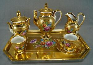 Dresden Hand Painted Floral & Heavy Gold Demitasse Set Pot Creamer Sugar & Cups