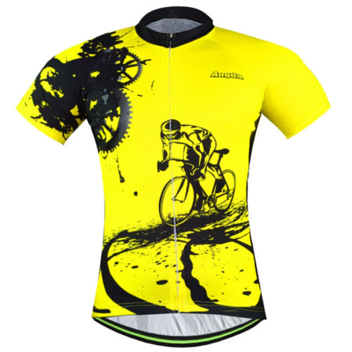 Men/'s Cycling Jersey Clothing Bicycle Tops Bike Jacket T-shirt Quick Dry Yellow