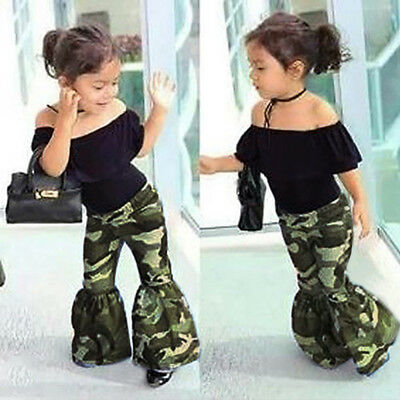 Children Baby Girl Ruffles Tops+Bell Bottoms Flare Pants Outfit Set Kids Clothes