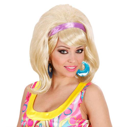 60er Jahre Damen Perücke blond Retro Damenperücke mit Haarband Rock and Roll