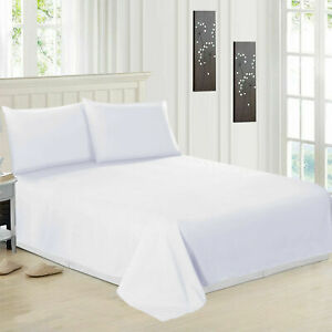 Luxury-100-Egyptian-Cotton-White-Flat-Sheets-Bed-Sheet-Single-Double-King-Size