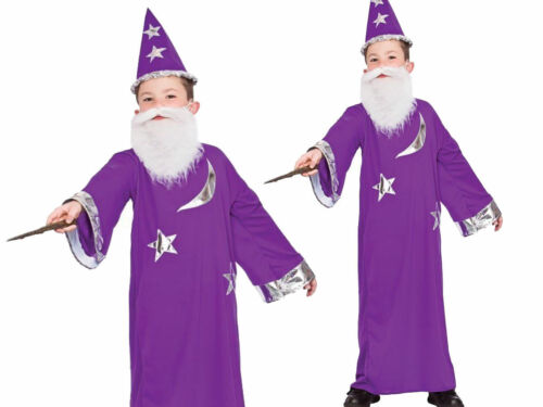 Boys Kids Purple Wizard Robe Fancy Dress Costume Halloween Book Week Outfit