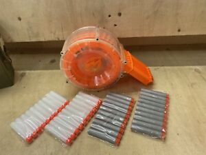 Clear-35-Round-Nerf-Drum-Magazine-Clip-Dart-Holder-Ammo-Orange-Rare-Vintage