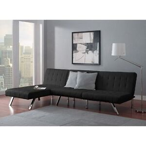 Details about Sofa Set Sleeper Convertible Sectional Futon Chaise Lounge  Furniture Bed Black