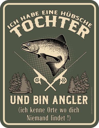 Sprüche T-Shirt Blechschild Angler Tochter  Papa Shirt Vater Geschenkset
