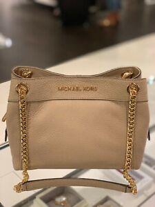 Details about Michael Kors Women Medium Leather Messenger Shoulder Tote Handbag Bag Beige Gold
