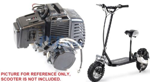 2 STROKE SUPER BIKE 49CC BLACK GAS SCOOTER MOTOR ELECTRIC PULL START H EN04