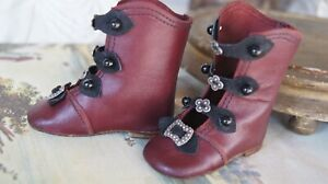 Beautiful-leather-shoes-034-Bordo-034-for-antique-doll-3-14inch-80mm