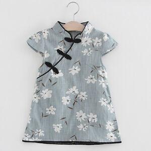 3282c729f486 Toddler Kids Baby Girl Floral Midi Dress Lovely Princess Party Dress ...
